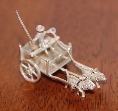 Dutch Silver Miniature Figurine - Man with Dog Cart - 2 dogs