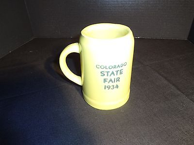 """rare"" 1934 Coors Pottery Mug.....coors Golden Beer.....colorado State Fair"