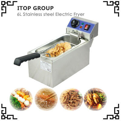 2000W Deep Fryer 6L Electric CE 220 110V Commercial tabletop SSBasket Scoop Unit