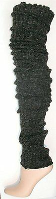 Wildestdream Womens Super Long Cable Knit Leg Warmers Boot Cover Socks Charcoal