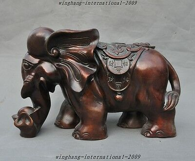 "14"" Chinese Fengshui bronze Auspicious Animal Wealth Money Lucky Elephant Statue"
