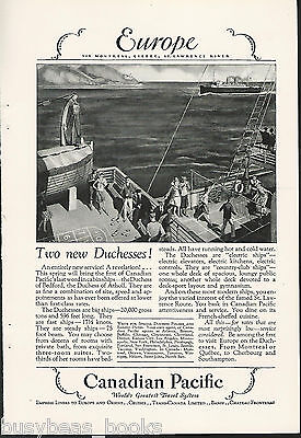 1928 Canadian Pacific advertisement, Duchess of Atholl & Bedford Atlantic cruise