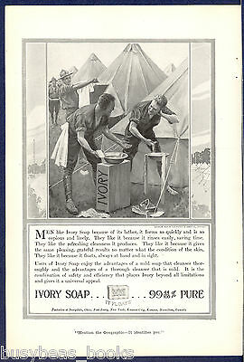 1916 IVORY Soap advertisement, WWI soldiers washing, field tents