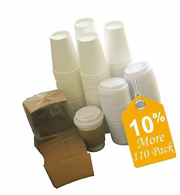 Sugarman Creations Paper Coffee Hot Cups with Lids and Sleeves 12-Ounce White...