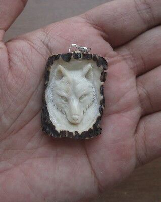 Wolf Head in Antler Carving Pendant w Sterling Silver Bale 01270217