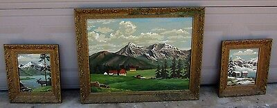 """Vintage LOT of 3 - Hand Painted """" Paint By Number """" on 28""""x22"""" & 12""""x14"""" Canvas"""