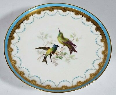 Antique Mintons English Porcelain Tazza - Jeweled Border - Hand Painted Birds