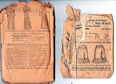 2 antique Victorian Edwardian sewing patterns bloomers long robe