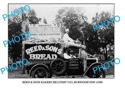 OLD LARGE PHOTO OF BURWOOD BAKERY DELIVERY TRUCK c1930