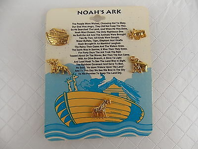 Noahs Ark Lapel Pin Set of 6 Ark and Animals on Card Goldtone #2904