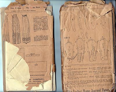 4 antique Victorian Edwardian sewing patterns sleeves, skirt, collars