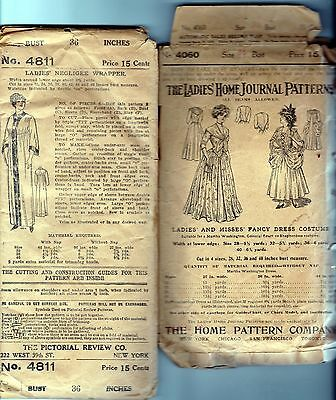 2 antique Victorian Edwardian sewing patterns negligee masquerade costume