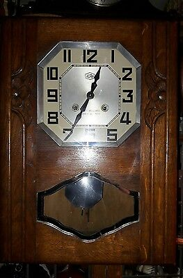 Old Solid Oak French Deco 2Key Wall Clock With Pendulum & Key E.w.o   Fre1