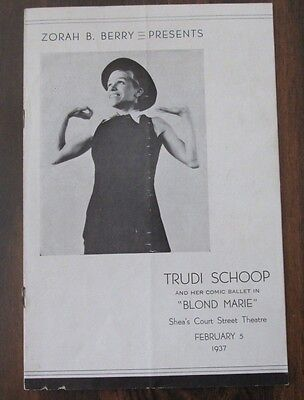 Zorah B Berry Trudi Schoop Program Shea's Court Street Theatre February 5, 1937