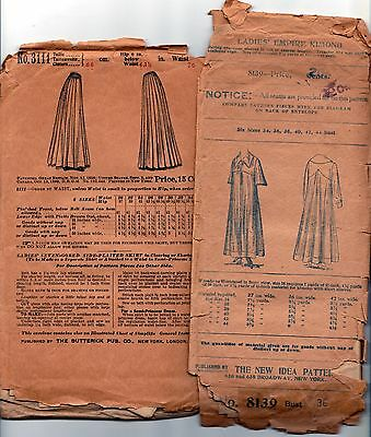 2 antique Victorian or Edwardian sewing patterns robe or long dress skirt
