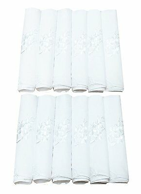 Perfect Wedding Pack White Cotton Embroidery Handkerchiefs Bulk