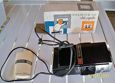 Vintage Bausch & Lomb Balmite 50 Slide Projector 2 x 2 and 35mm in Box & Guide