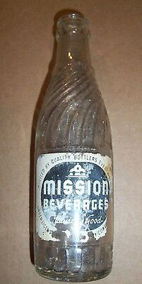 Early Vintage Mission Beverages Nu-Icy Bottle Co Monticello Ny 6Oz Soda Bottle