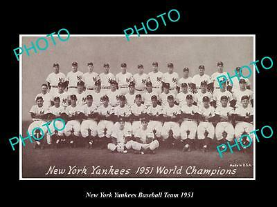 Old Large Historic Photo Of The New York Yankees 1951 Baseball Team