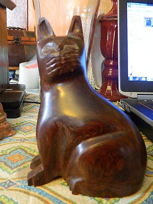 wooden wood sitting cat figurine hand carved
