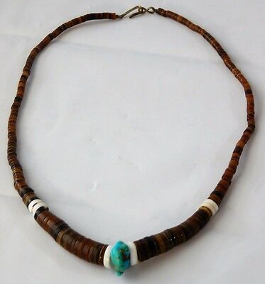 Vtg Navajo HORN TURQUOISE Shell STERLING SILVER Heishi Bead Necklace