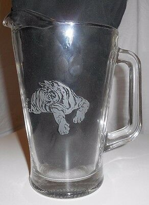 Rare Exxon Chemicals Baton Rouge Chemical Plant Etched Glass Tiger Beer Pitcher