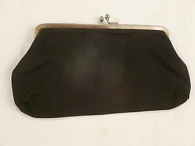 Vintage 1960s Womens Black Hand Purse/Evening Bag Clutch Nice Condition