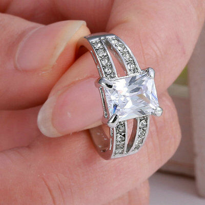 Size 9 White Sapphire Silver Wedding Band Ring 10KT White Gold Filled Jewelry