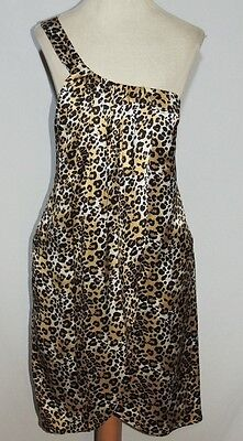 Lacey Parker Silk Leopard Print 1 Shoulder Wrap Dress MED b- 34