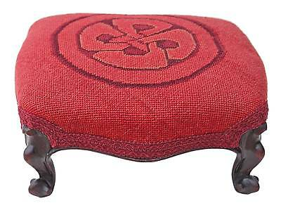 Antique small Victorian 19C carved mahogany upholstered foot stool