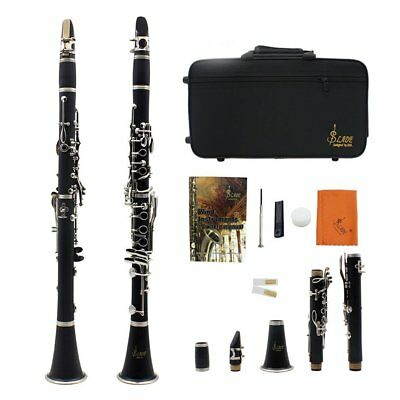 Black Bb Clarinet + Care Kit + 11 Reeds + Case (Double Tube) High-Grade ABS