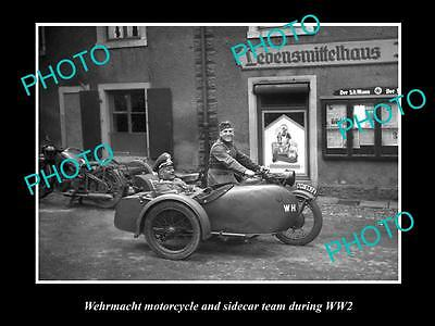 Old Large Historical Photo Of Wehrmacht Motorcycle With German Soldiers Wwii