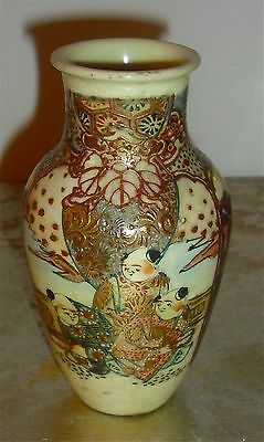 "Beautiful 5"" Tall Antique Meiji Period Japanese Satsuma Vase"