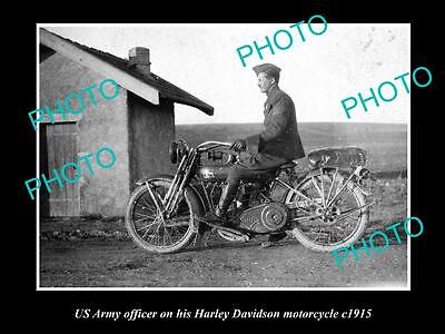 Old Historical Motorcycle Photo Of Us Army Officer With Harley Davidson 1915