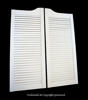 """Pine WHITE LOUVERED CAFE DOOR Saloon Swinging Pub Bar Western 24"""" with Hinges"""