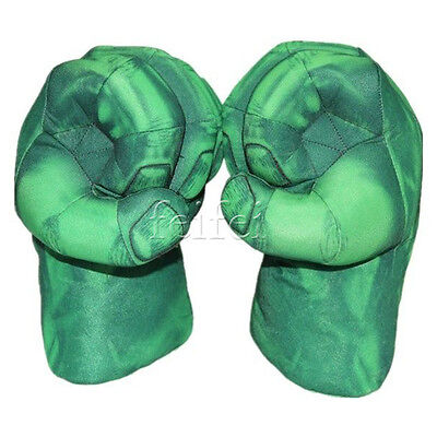 2X Incredible Cosplay Gloves Hulk Smash Hands Boxing Fists Plush Green Gloves
