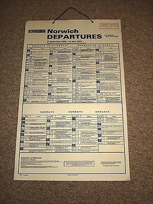 Norwich train departures 1978-1979: British Rail hanging card timetable poster