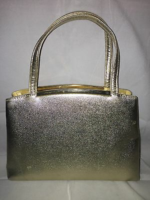 Miss Lewis Small Gold Lame' Evening Purse - Vintage 1960's