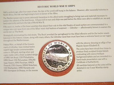GIBRALTAR 1 One Crown USS GLEAVES War Ship of WW II Silver Proof Coin 1993