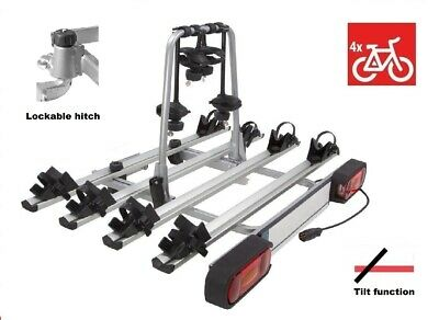 New Model GIRO 4 Towbar Mounted Tilting 4 Bike Rack / 4 Cycle Carrier 4x4