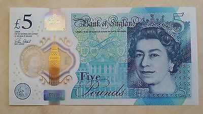 GREAT BRITAIN £5 pounds 2016 Polymer NEW UNC Banknote