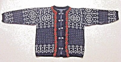 Vintage Childs Norway Norwegian Wool Clasp Cardigan Sweater Black White Red 37""