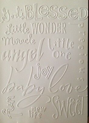 5 Blank A6 White Embossed Cards/Envelopes/Sleeves  - Baby Words