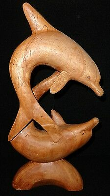 Carved Dolphins Figurine Statue