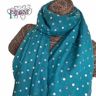 a77a30c96 Turquoise Scarf With Silver Foil Glitter Dots Spots Ladies Superb Soft  Quality