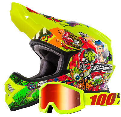 Oneal 3Series Crank Cross Helm + 100% Strata Motocross Brille neon Yellow Enduro