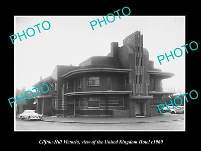 OLD LARGE HISTORIC PHOTO CLIFTON HILL VICTORIA, THE UNITED KINGDOM HOTEL c1960