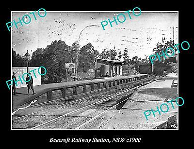 OLD LARGE HISTORIC PHOTO OF BEECROFT RAILWAY STATION, NEW SOUTH WALES c1900