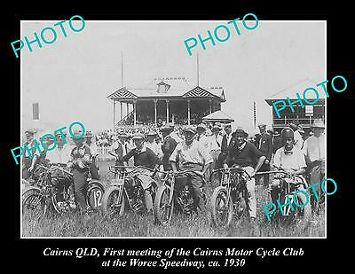 OLD LARGE HISTORIC PHOTO OF CAIRNS MOTORCYCLE CLUB at WOREE SPEEDWAY c1930, QLD