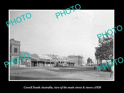 OLD LARGE HISTORIC PHOTO OF COWELL SOUTH AUSTRALIA, THE MAIN St & STORES c1920
